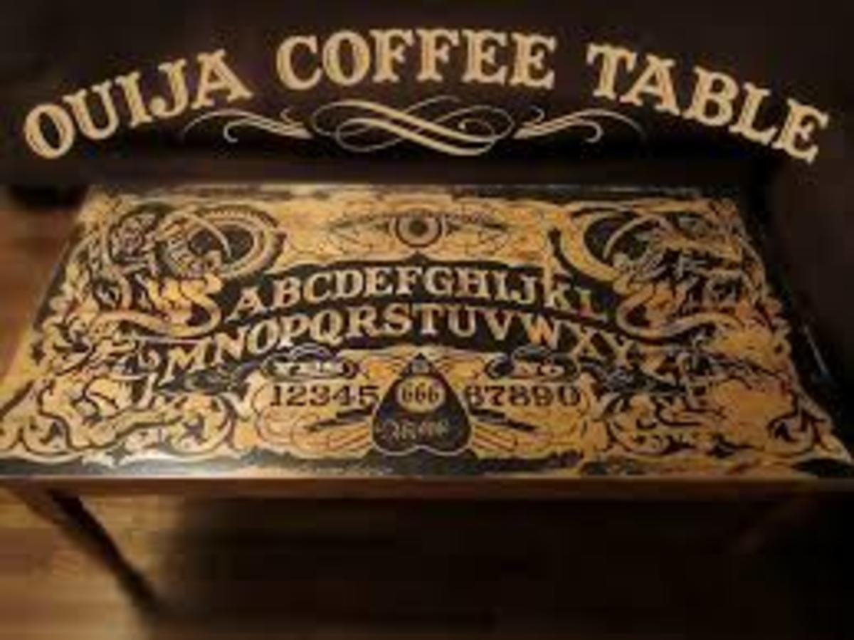 It's a handmade Ouija Board Coffee Table. Have a séance in your living room while you watch The Walking Dead or even something really scary.