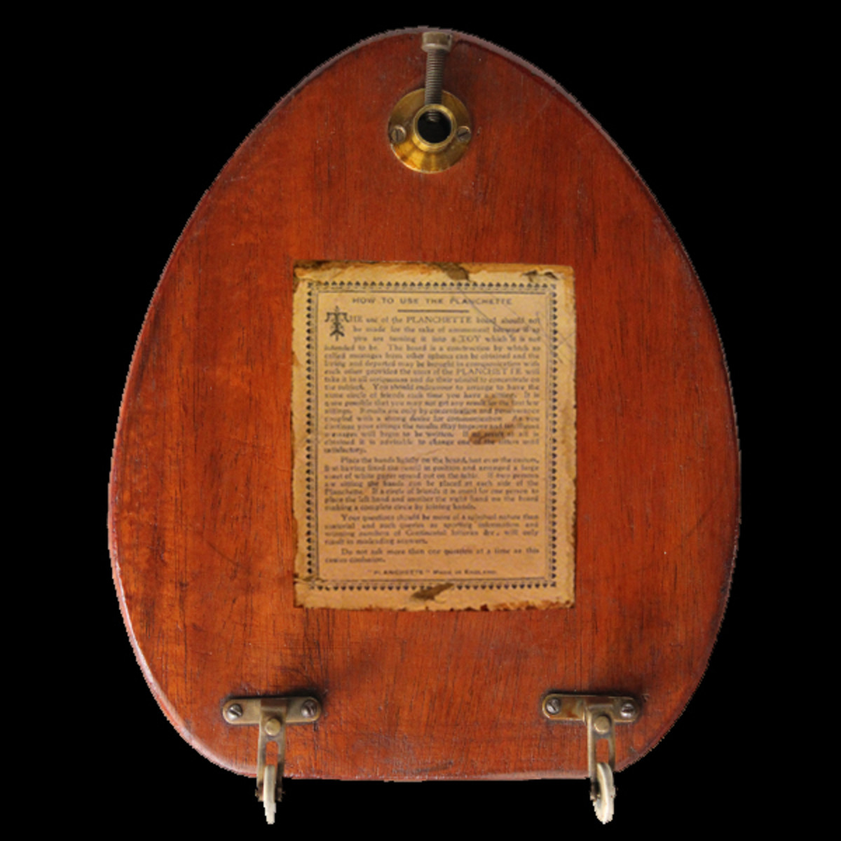 An early British automatic writing planchette, possibly of Thomas Welton, 1860s.
