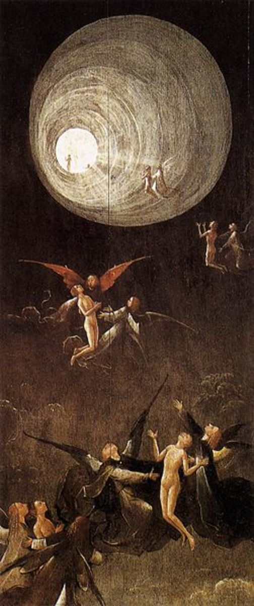 """""""Ascent of the Blessed"""" a painting by Hieronymus Bosch (1490 and 1516 AD), that  depicts a tunnel of light and spiritual figures as reported in most of the near-death experiences."""