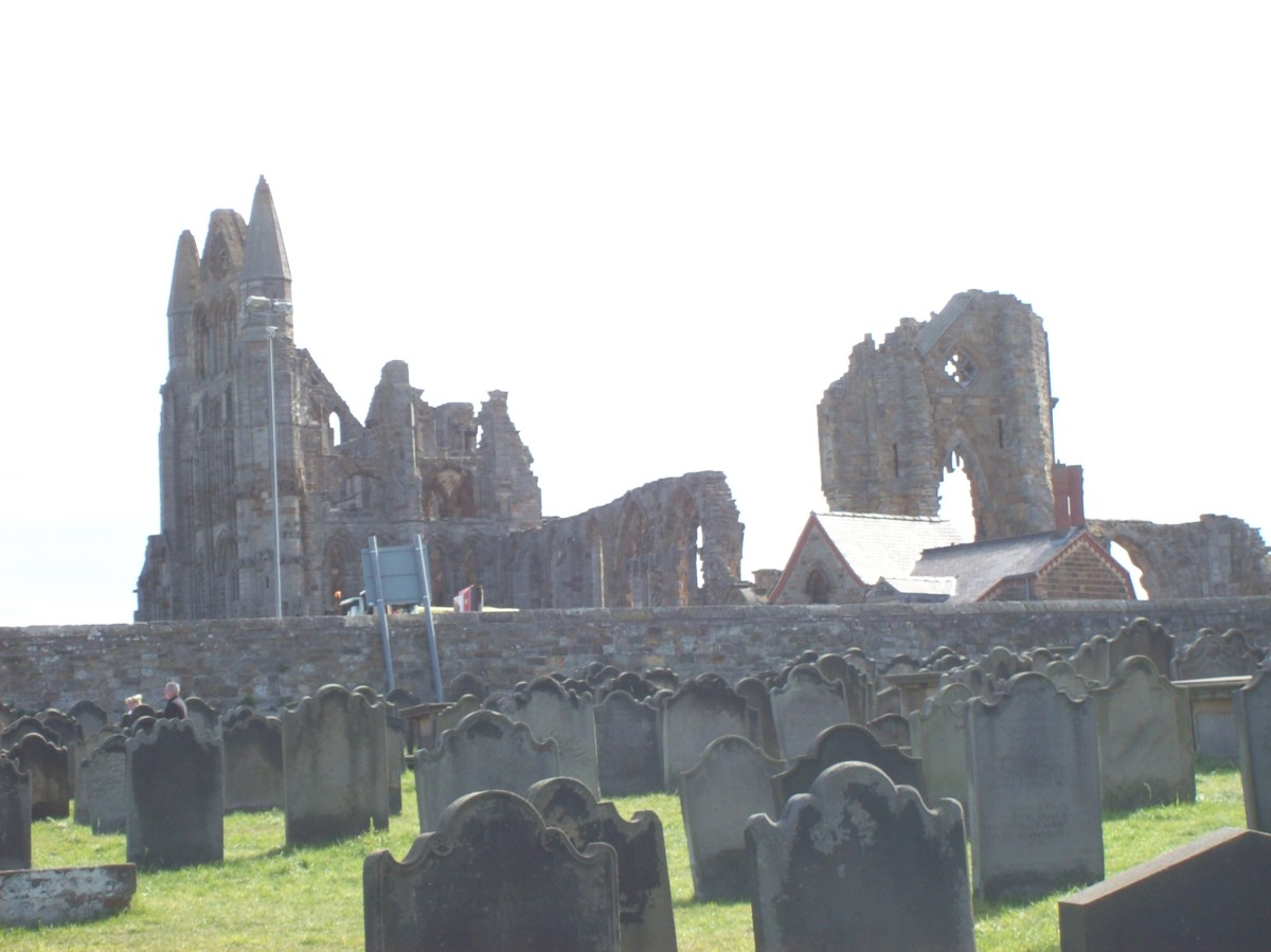 Abbey ruins, graveyard and church spooky even during the day