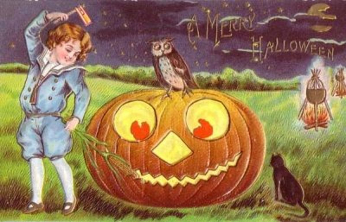 Vintage Halloween Postcard Featuring a Boy with a Noisemaker