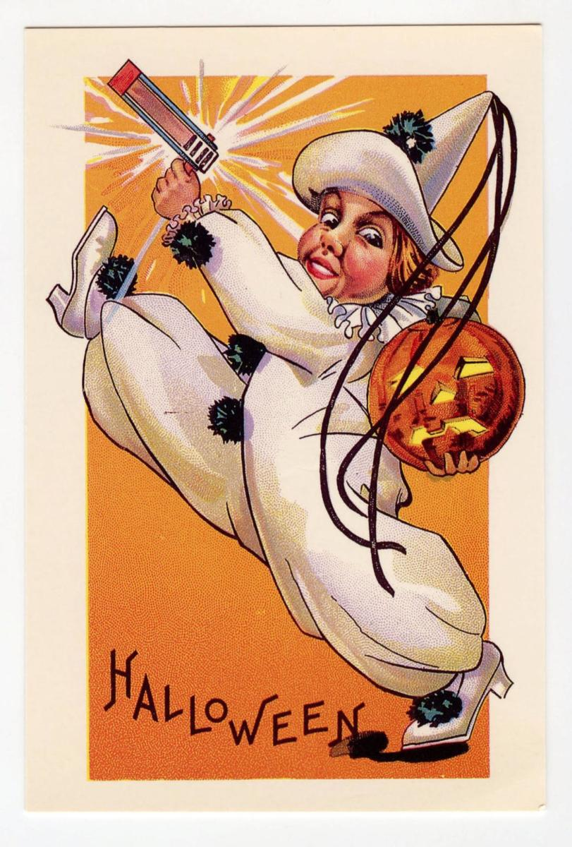 Vintage Postcard of a Young Child - too young for Trick-or-Treat, but not too young for a noisemaker!