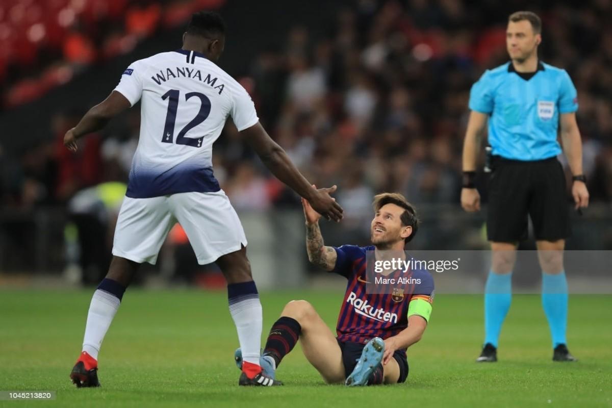 Kenya's Victor Wanyama with six time  Ballon d'Or winner, Leonel Messi