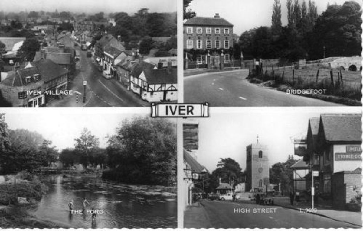 A postcard showing the village of Iver in Buckinghamshire.