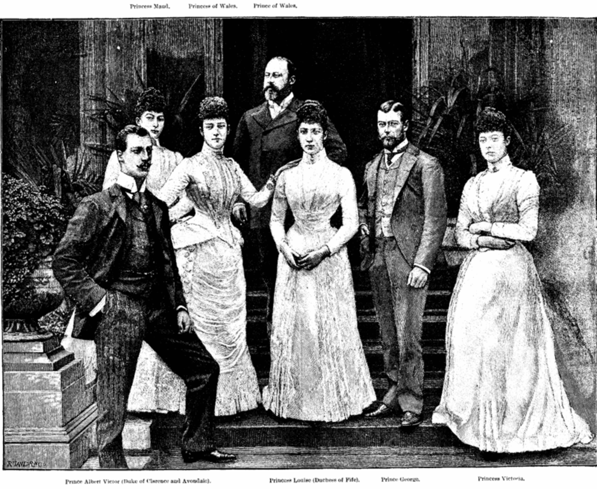 The Wales'. Toria is on the far right. The future George V, her favourite sibling, is beside her.