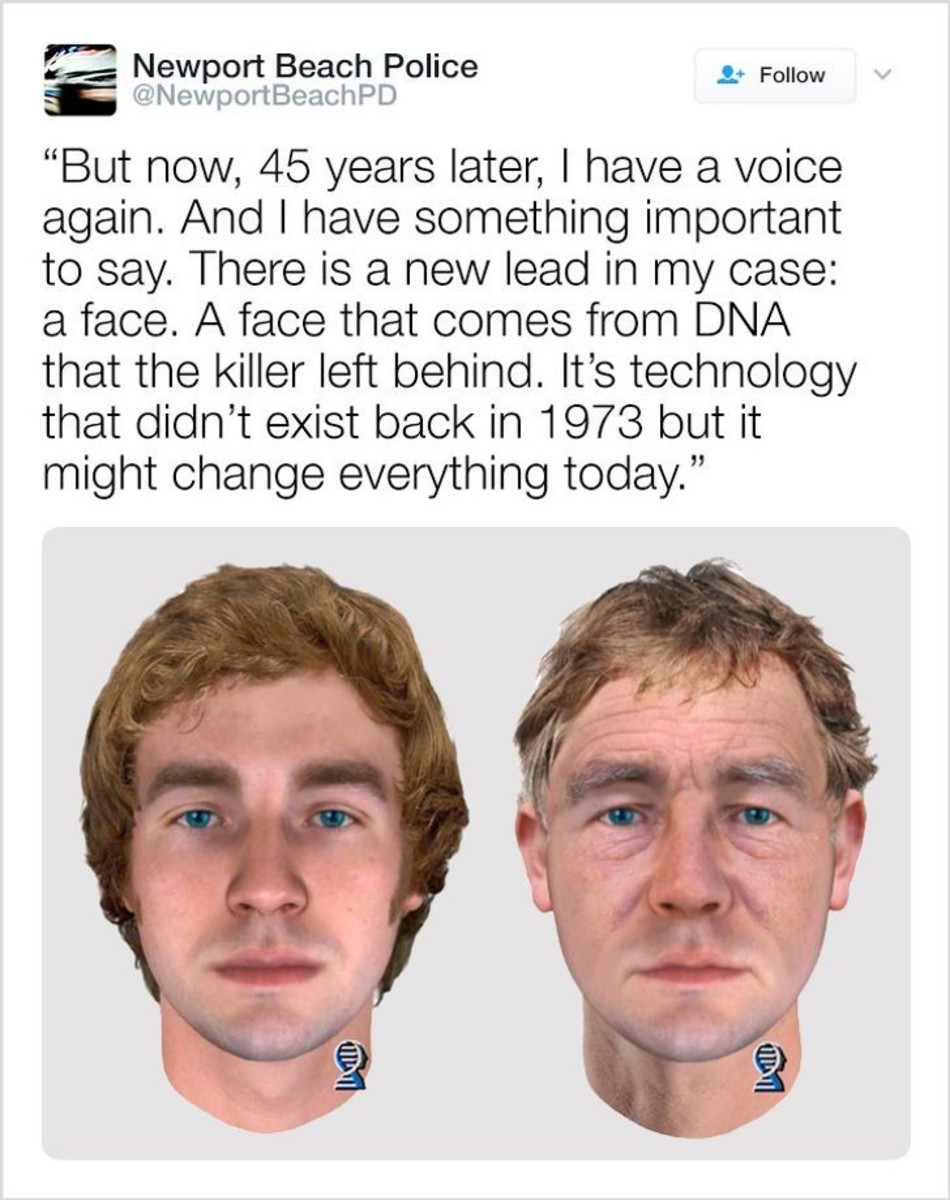 Newport Police Department uses Twitter and DNA phenotyping to solve decades-old murder of Linda Ann O'Keefe, murdered in July 1973