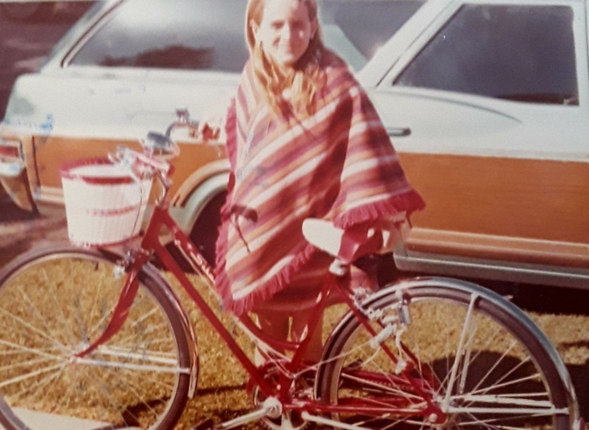 Linda Ann O'Keefe with her bike in 1973. Photo courtesy of Facebook.