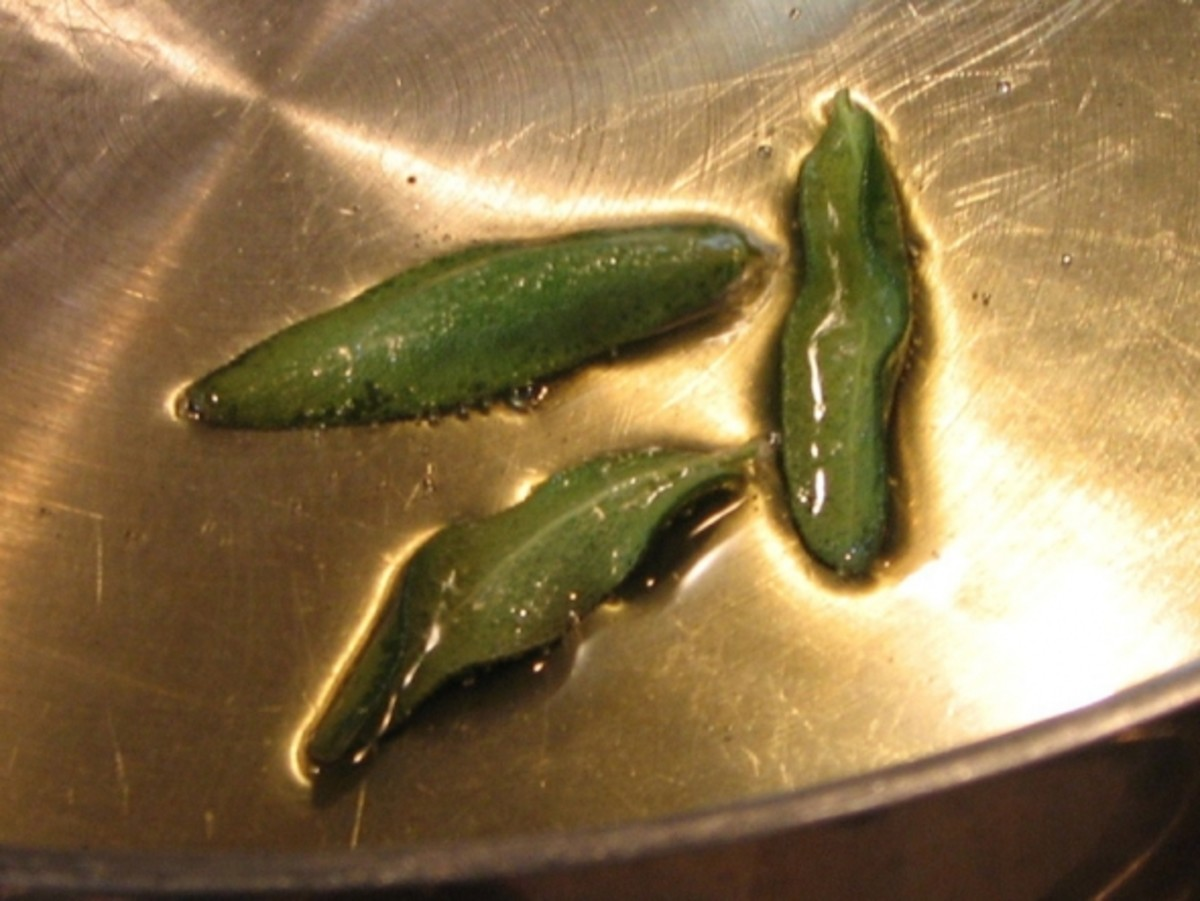Fry a few sage leaves in hot oil, until crispy. Be careful not to burn them. Remove and set asaide.