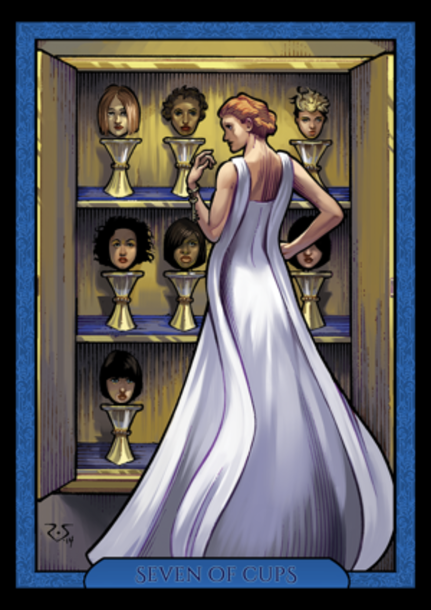 The Seven of Cups is about trying to navigate virtues and vices. You are one choice away from picking something terrible or something empathetic. You also have the choice to pick no cups.