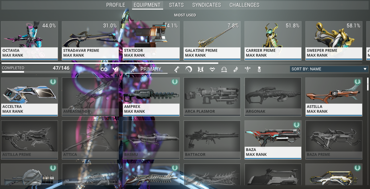 Go to your profile and select the Equipment tab.