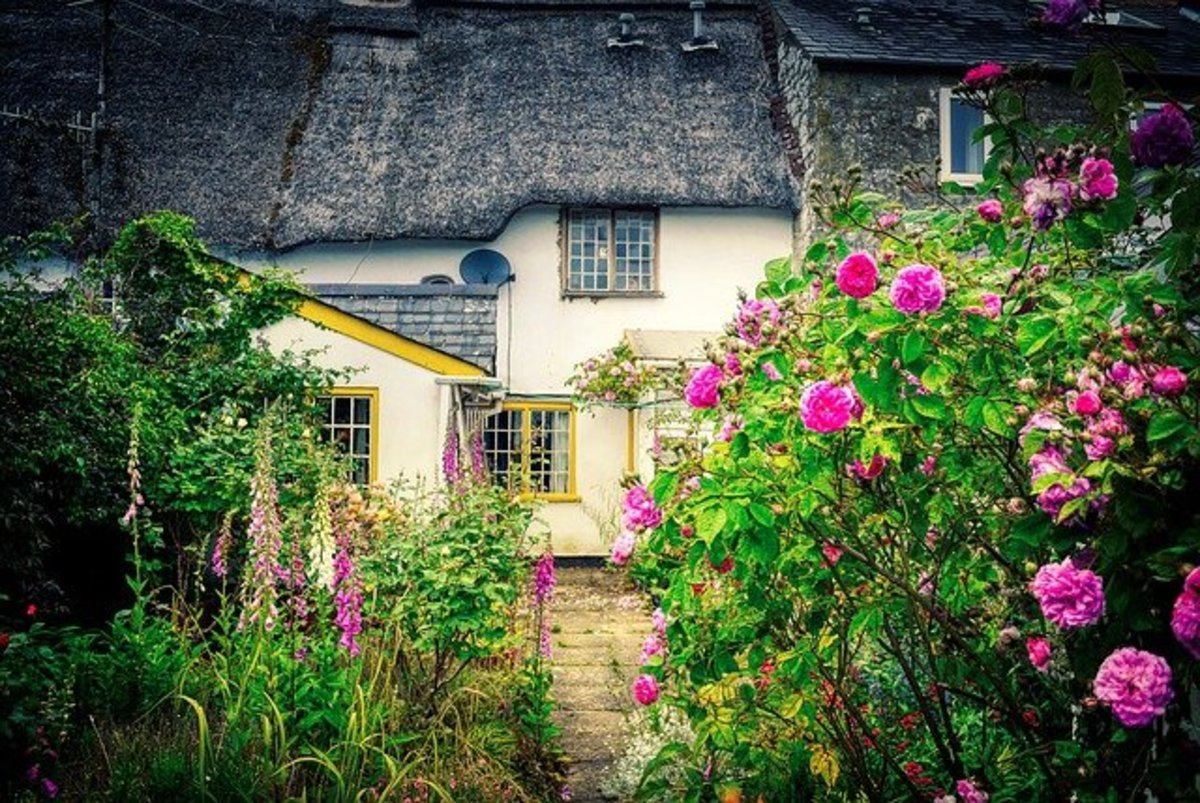 Her grandmother's house. I imagined it looks like this. Sort of. I'm absolutely in love with those houses you see in small towns in England. They have a certain charm to them.