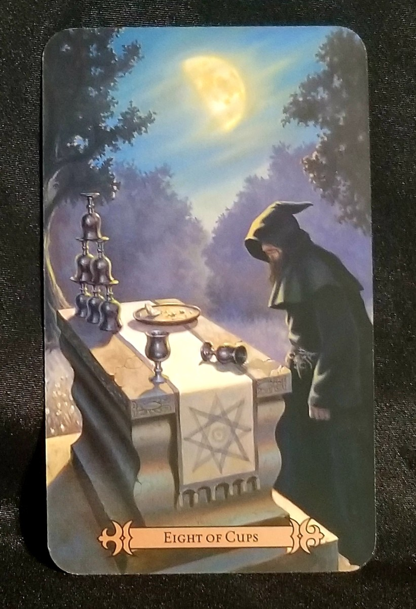 The Eight of Cups reveals where you are unsatisfied in your emotions. Things you once loved no longer serve or support you.