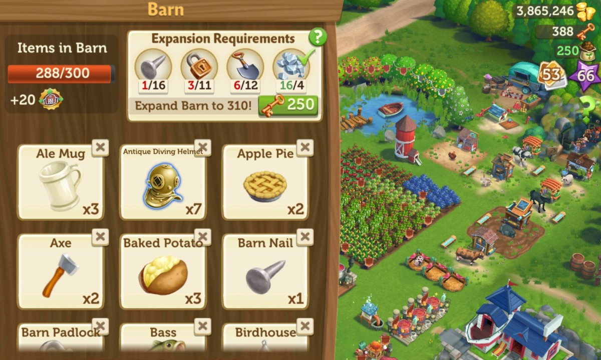 """When your barn is full, click the """"x"""" on items you don't need to delete them!"""