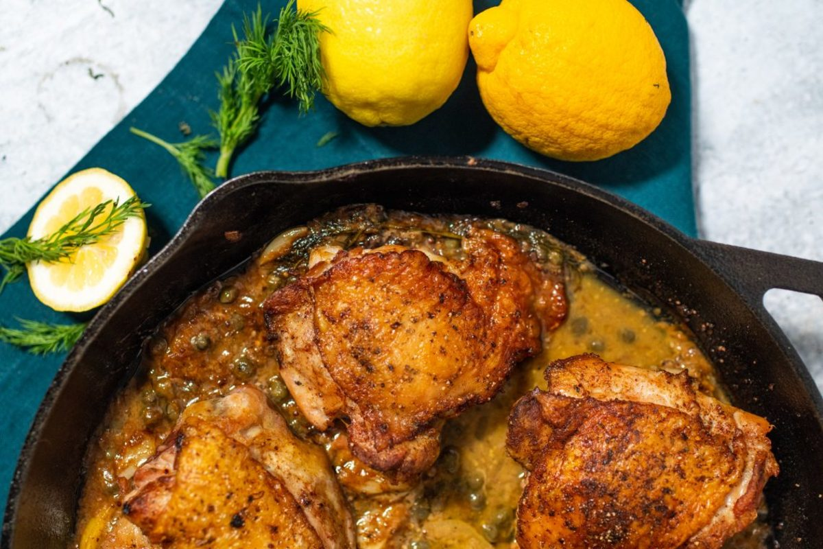 Provencal Piccata Roast Chicken Thighs