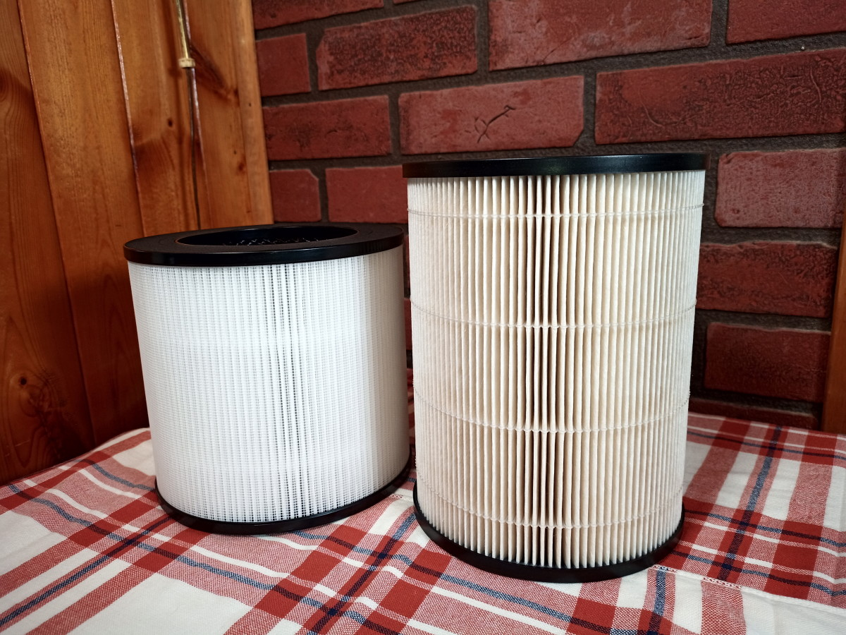 The larger Kyvol HEPA filter appears slightly yellow as it has been in use for about five weeks.
