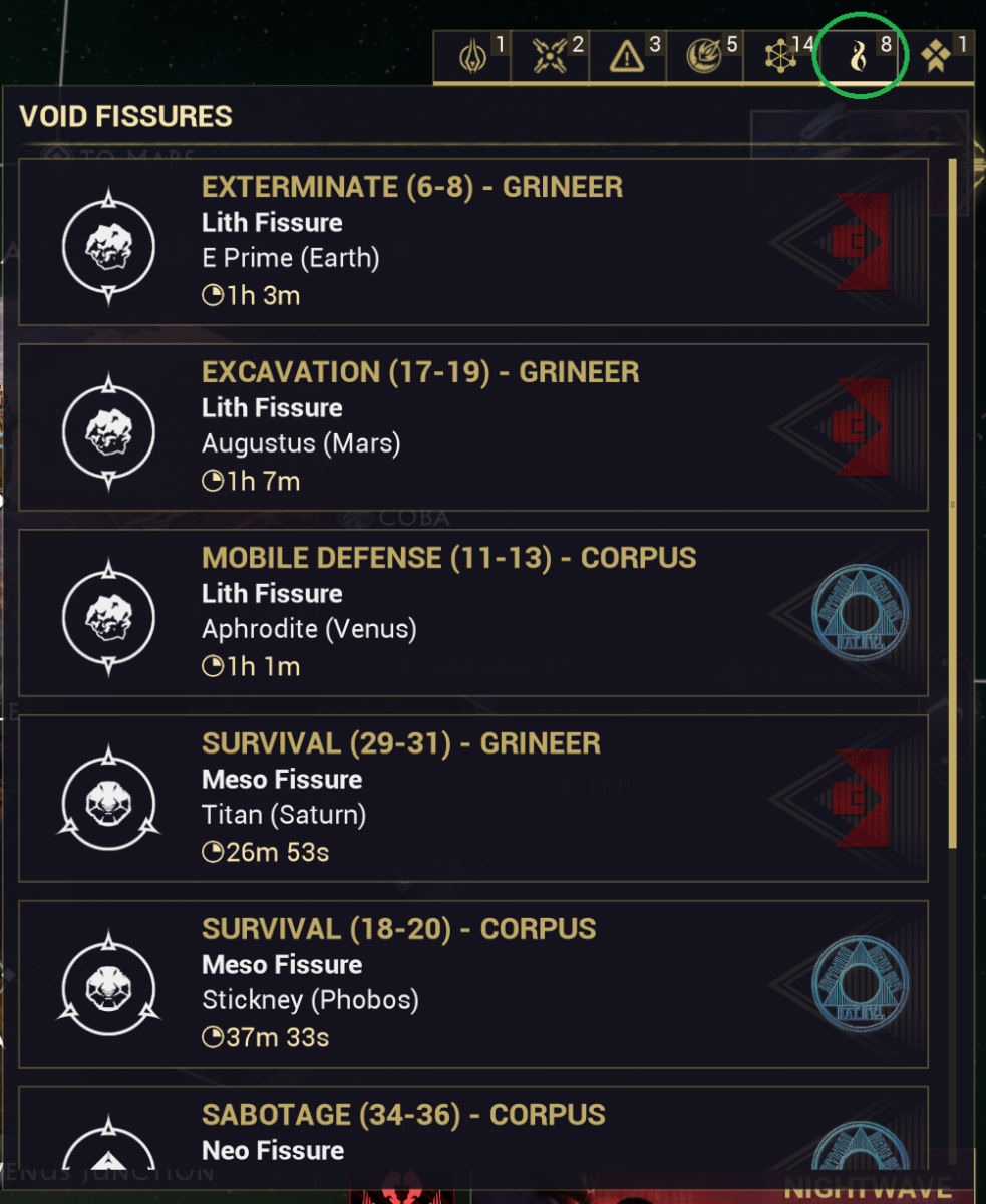 Void fissure missions.