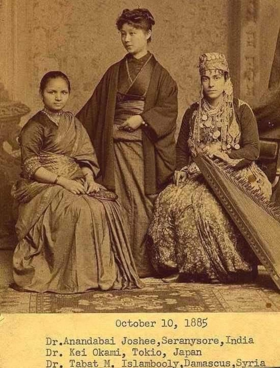 Anandibai Joshee graduated from Woman's Medical College of Pennsylvania (WMCP) in 1886. Seen here with Kei Okami (center) and Sabat Islambooly (right). All three completed their medical studies.