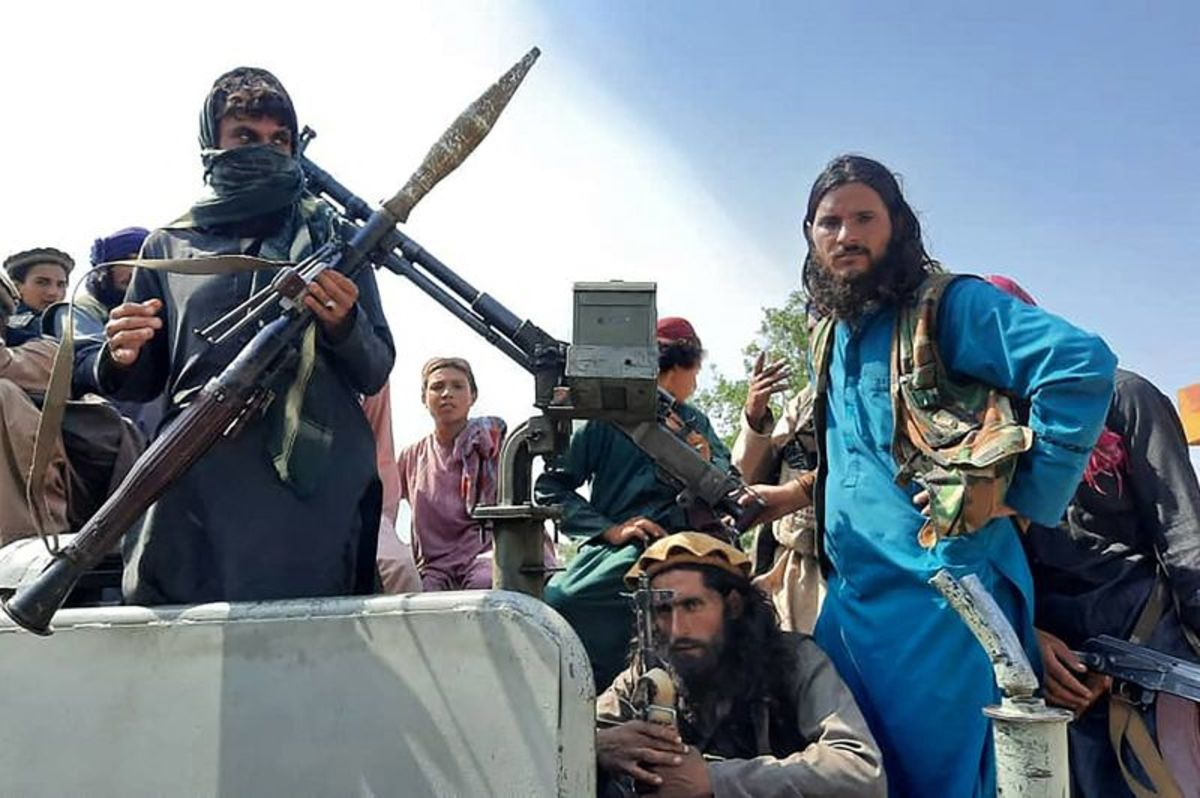 Taliban fighters in Kabul on August 15, 2021.