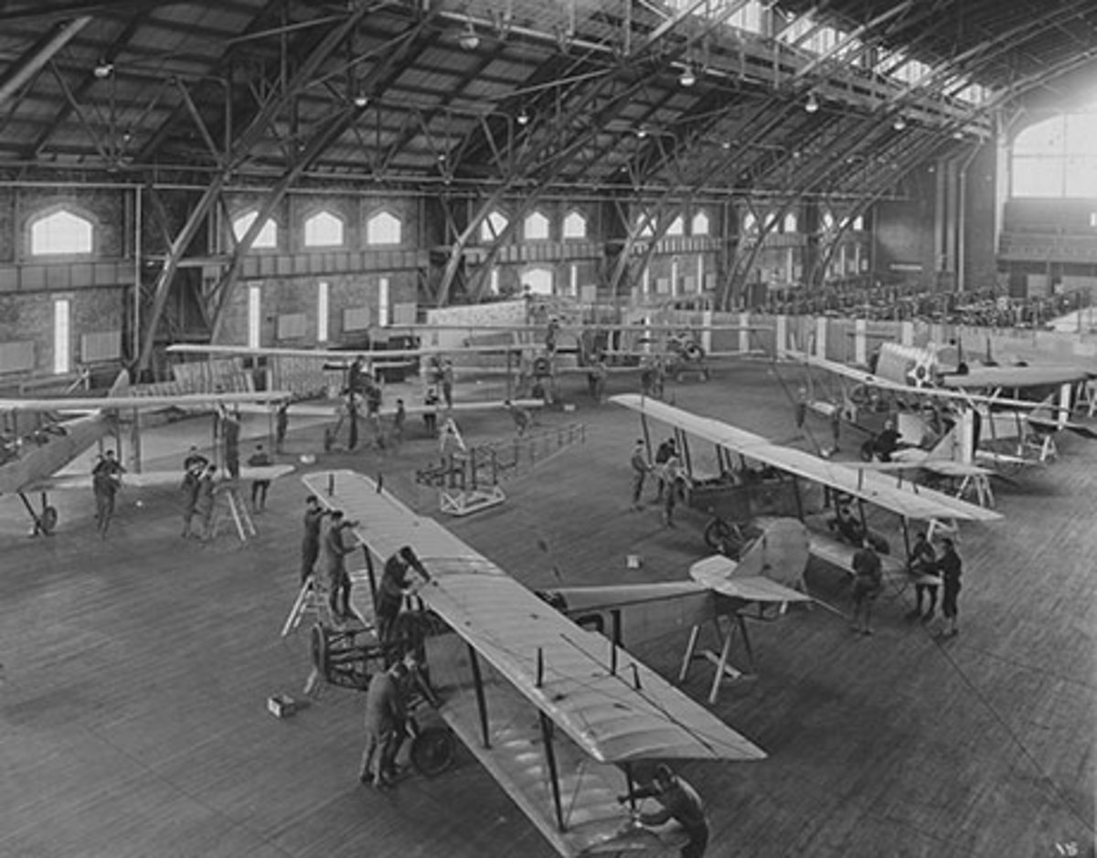 Not what the Ivy League is generally known for; here Cornell pilots-in-training examine aircraft during ground school.