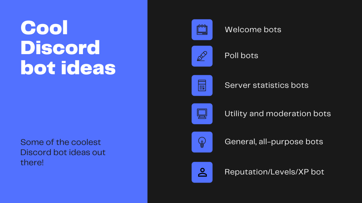 Some ideas for bots you could include in your server.