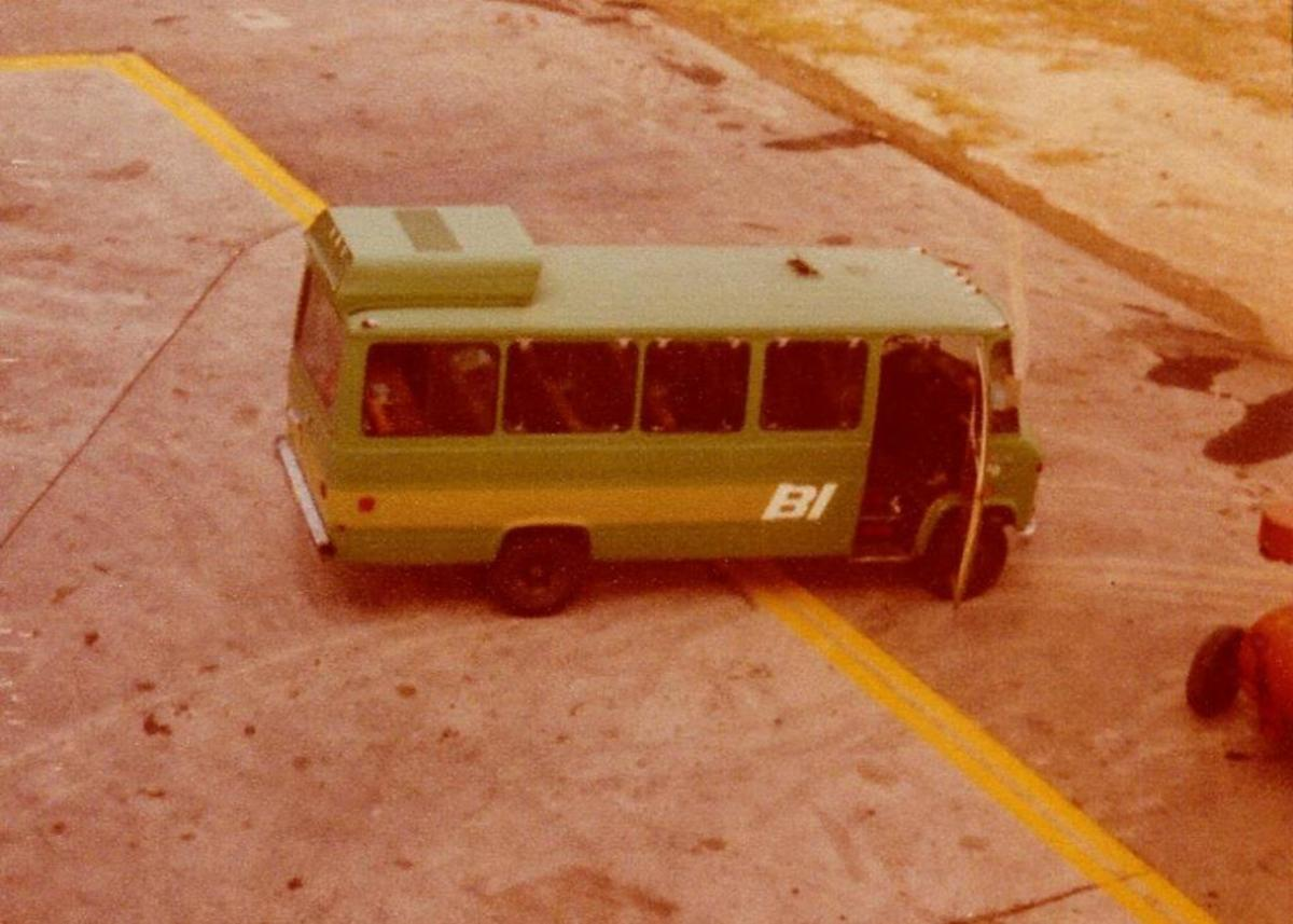 This was the bus that took the students to and from housing to the airport for training on-board real planes.