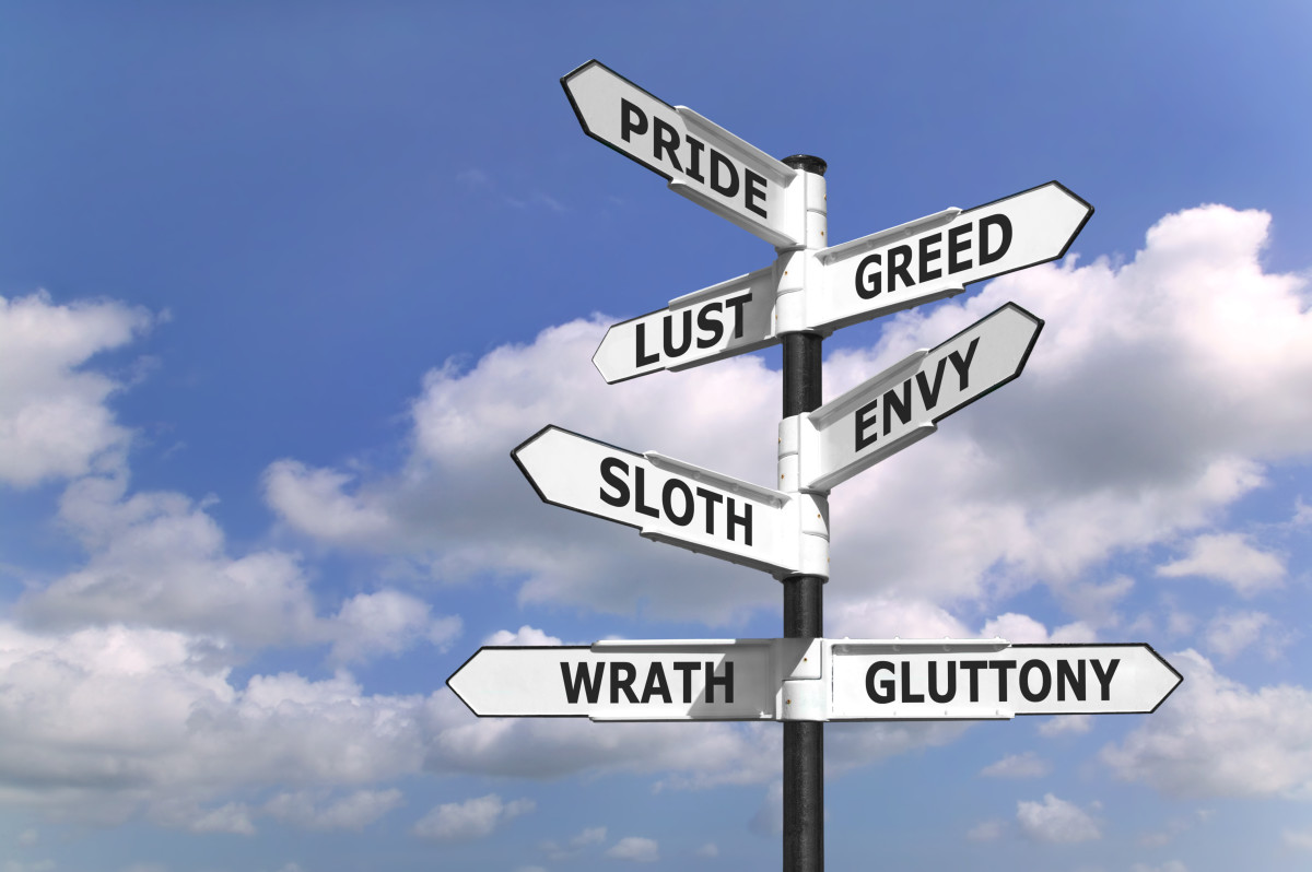 7 Deadly Sins (vices) sign - (Pride, Lust, Greed, Envy, Sloth, Wrath (anger), and Gluttony).