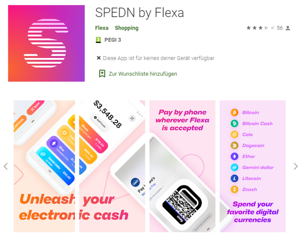 The SPEDN app that is part of the Flexa network—avaiable for both Android and IOS