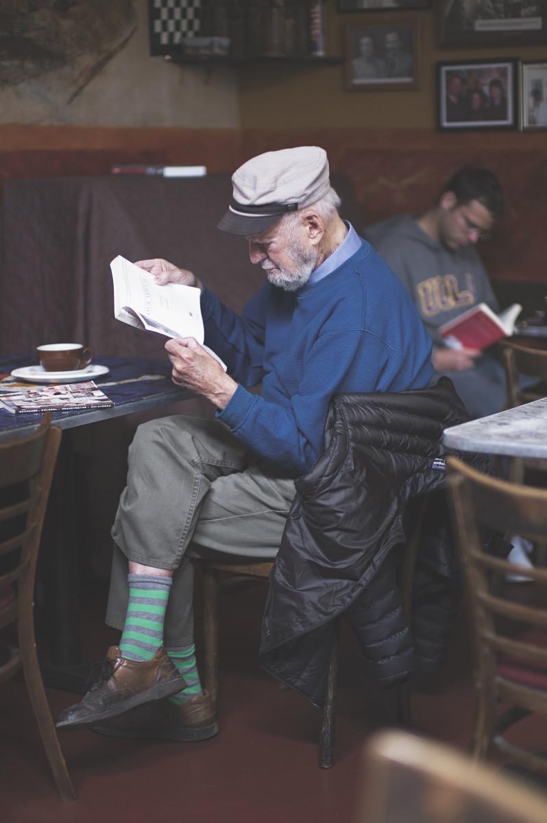 Lawrence Ferlinghetti in 2012 at Caffe Trieste