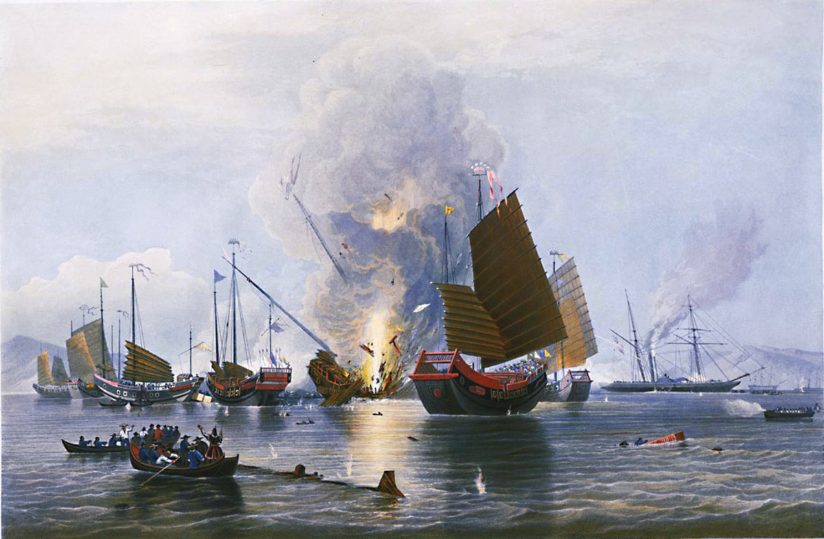 The British East India Company iron steam ship destroying the Chinese war junks during the First Opium War
