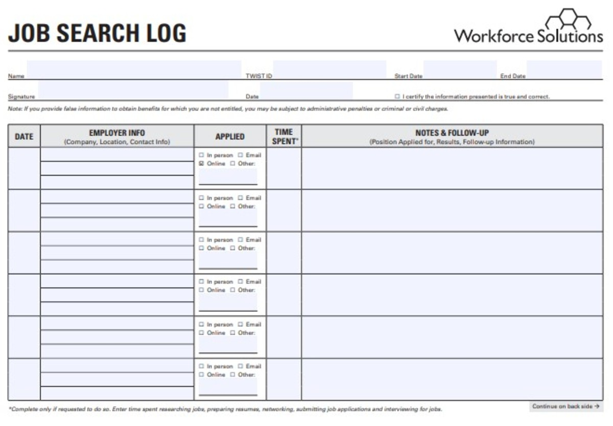 Screenshot of the template to record and track your job application from 'Job Search Log'