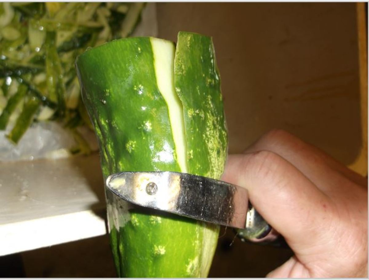 peel green layer from cucumber and discard green layer