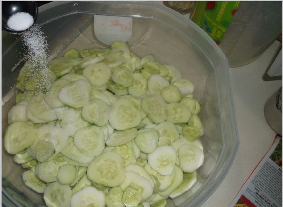 let salted cucumbers sit for a few hours and drain resulting fluid from them