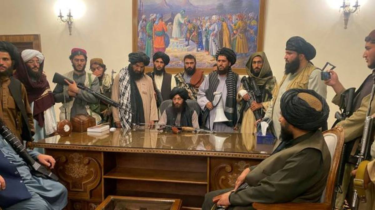 Taliban forces in presidential palace after taking control over Kabul on August 15th, 2021.