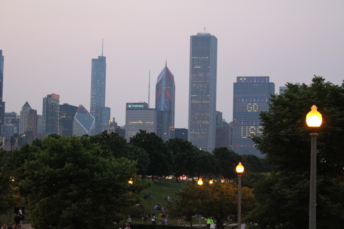 The Chicago skyline lit up for 4th of July.