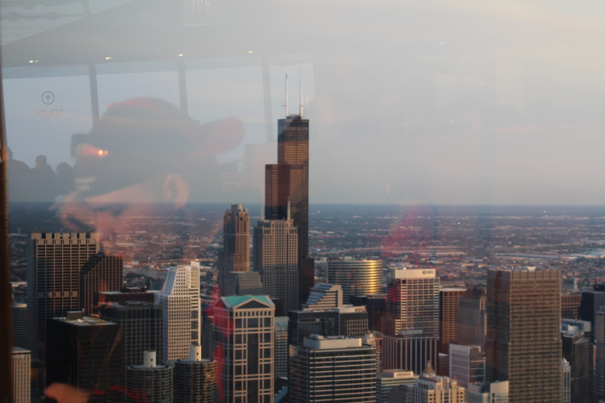 Willis Tower from the John Hancock Building. And some guy's reflection.