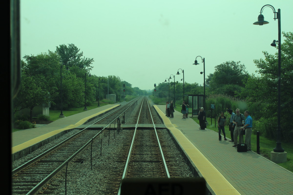 Taken from the front of a Metra train. While moving into the actual city.
