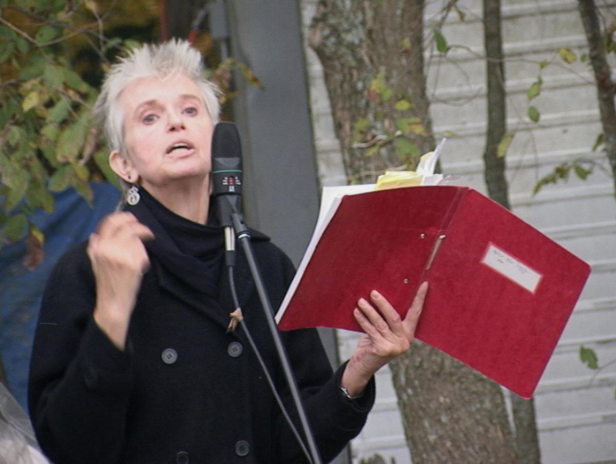 Janine Pommy Vega giving a poetry reading