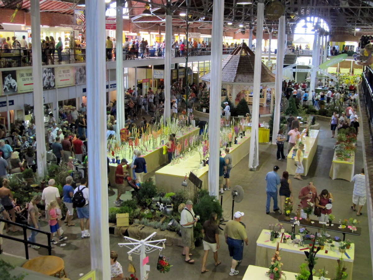 A flower show underway inside the Agriculture Building.