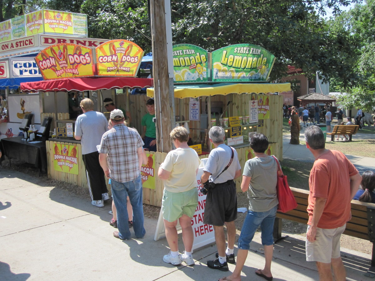 Lining up for an artery-clogging double bacon corn dog, new to the fair in 2012.