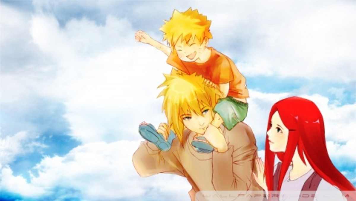 A Naruto family (Uzumaki/Namikaze clan) PSP wallpaper for you! (Naruto, Kushina, and Minato a.k.a Fourth Hokage)