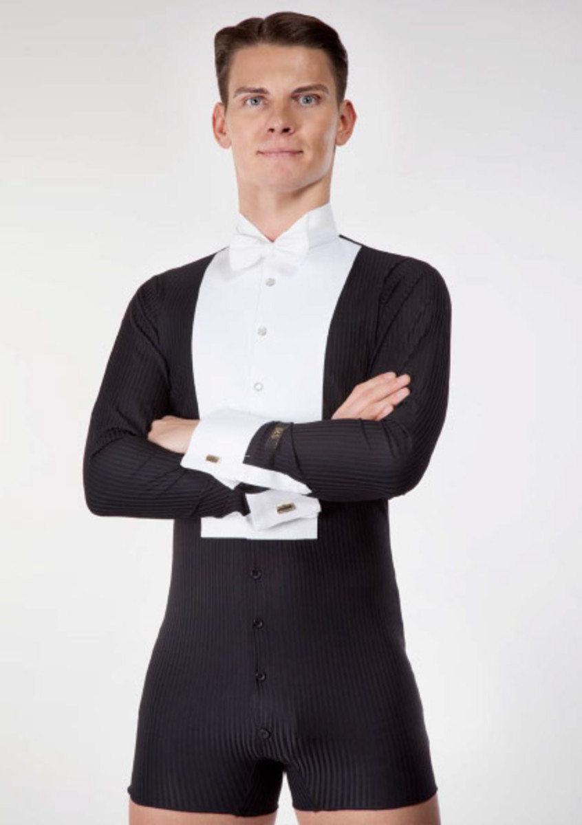 A bodysuit-style shirt from DSI, one of THE best ballroom dancewear suppliers.  Only the front and cuffs are shirt material, the rest is comfortable stretch fabric.
