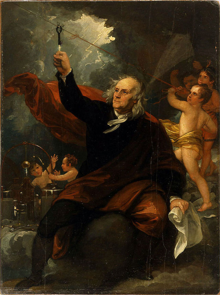 Painting by Benjamin West of Franklin's famous kite experiment.