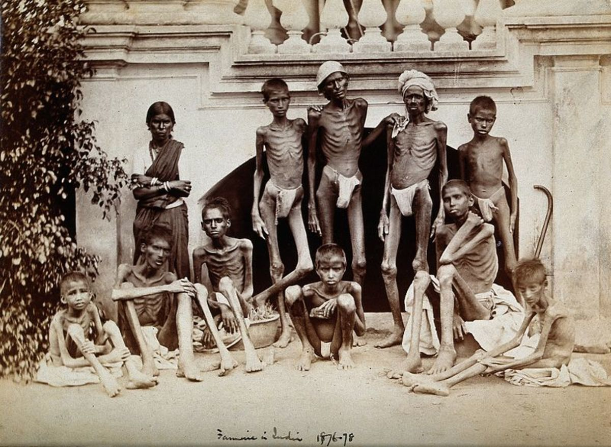 Emaciated people during the 1873-74 famine.