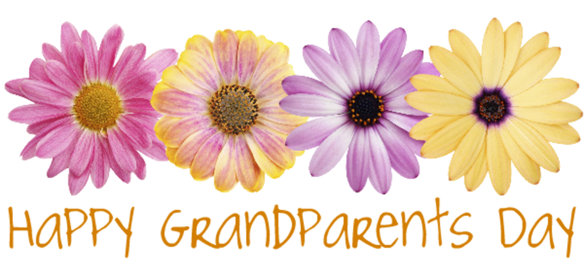 Free Happy Grandparents Day card and clip art with four yellow and purple daisies