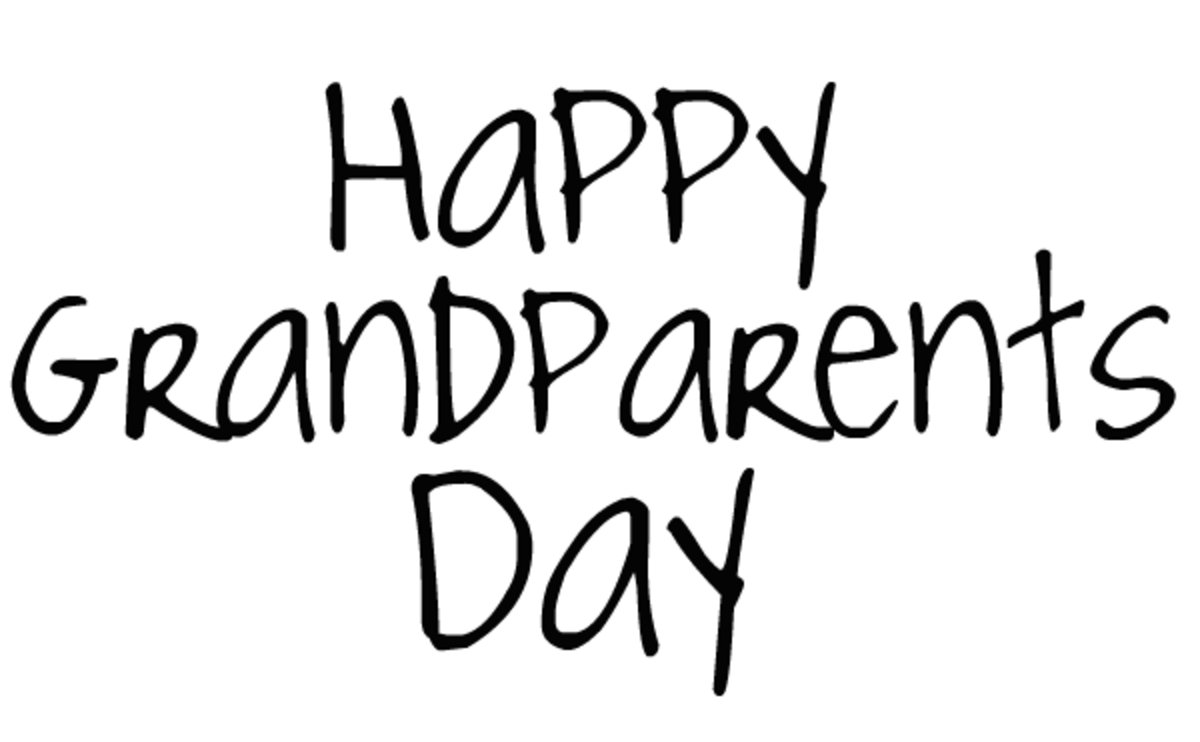 """Happy Grandparents Day"" card and clip art with black text"