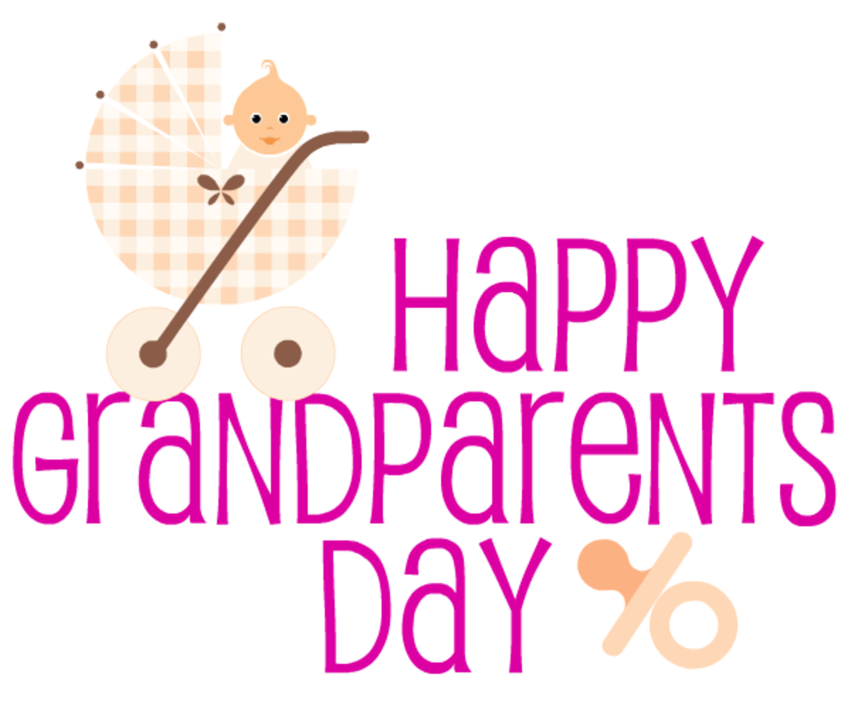 Free Happy Grandparents Day card and clip art with beige baby carriage and pacifier -- magenta text