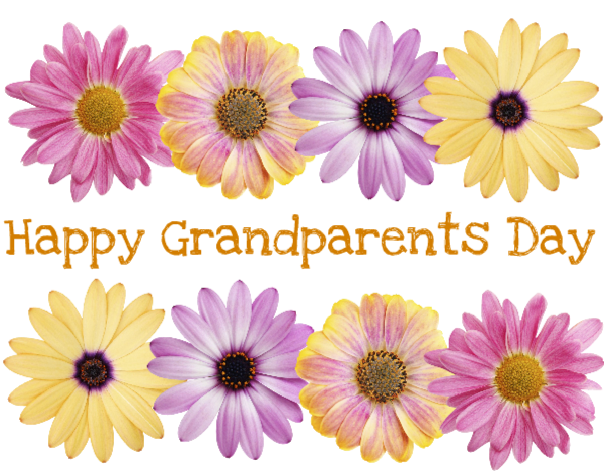 Happy Grandparents Day card and clip art with eight pink, purple and yellow daisies