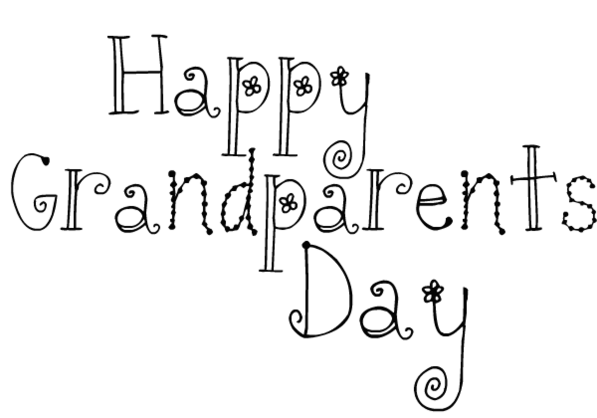 Free Happy Grandparents Day card and clip art with black flower text