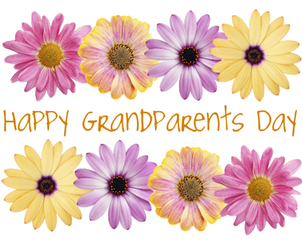 Free Happy Grandparents Day card and clip art with eight pink, purple and yellow daisies