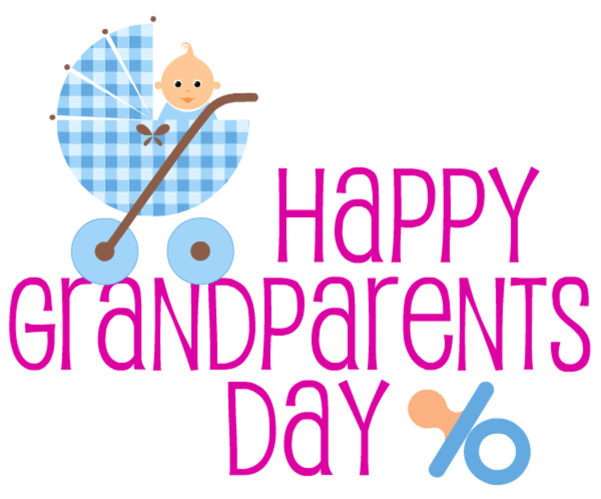 Happy Grandparents Day card and clip art with blue baby carriage and pacifier -- magenta text